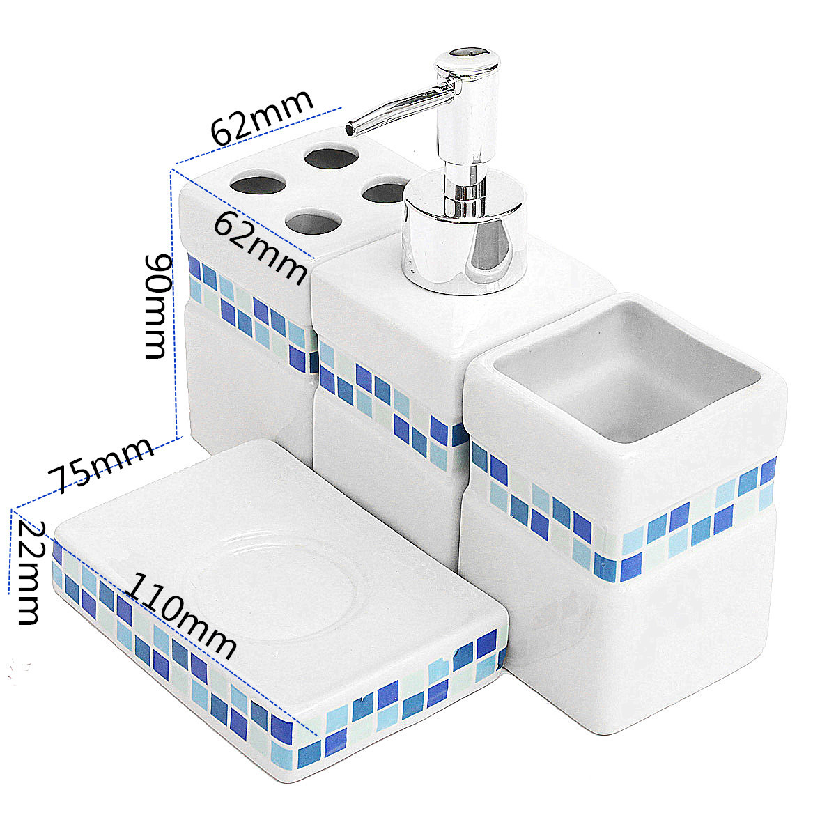 1pc blue mosaic square 4pcs ceramic porcelain bath for Bathroom accessories lazada