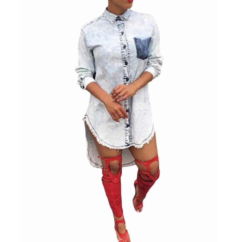 zanzea women damen asymmetrisch jeans loose long shirt. Black Bedroom Furniture Sets. Home Design Ideas