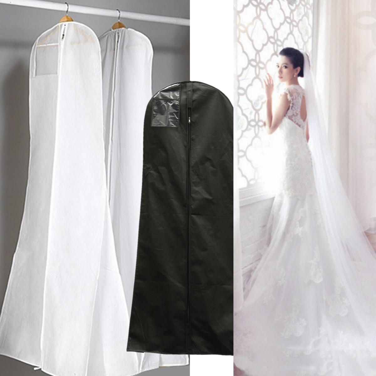 1 8m showerproof garment dress cover long bridal wedding for Storing wedding dress in garment bag