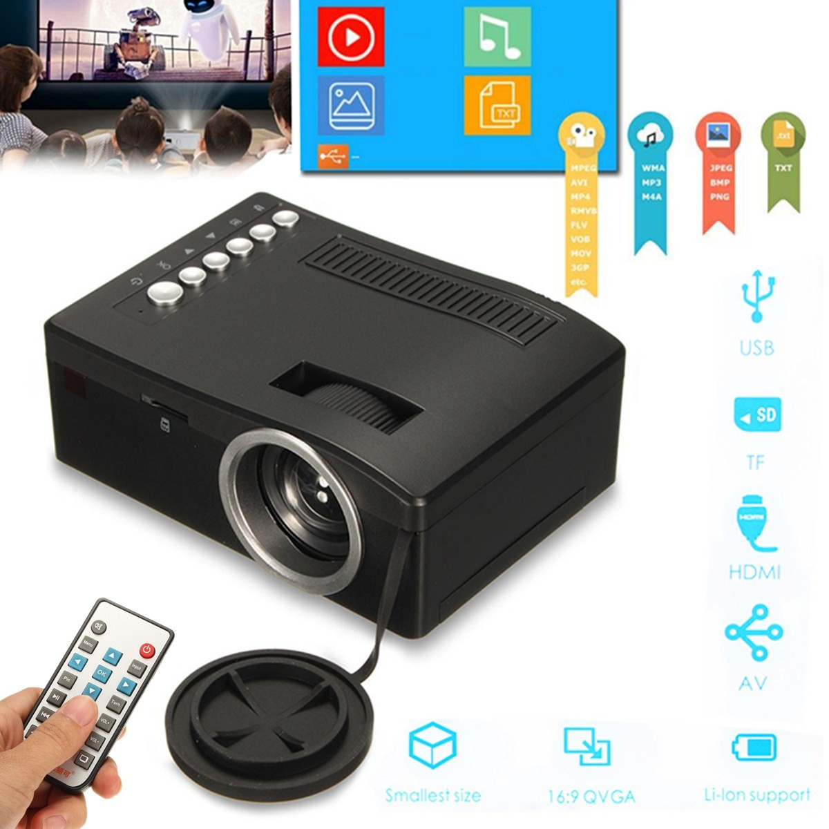 Full hd 1080p input multimedia home theater led mini for Pocket projector hdmi input
