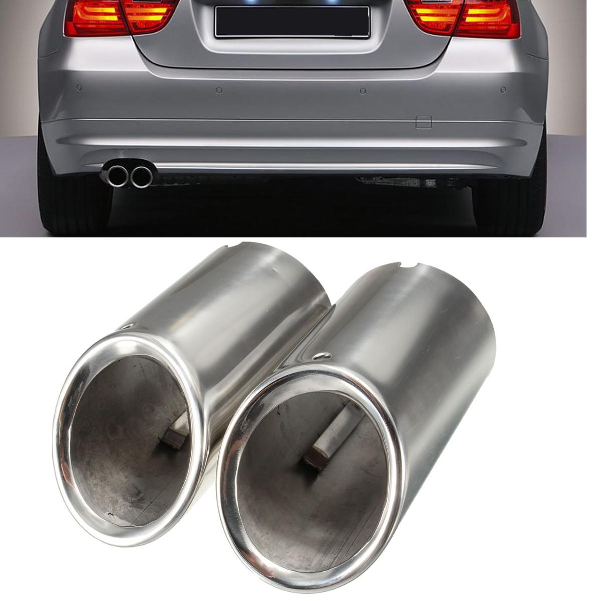 Muffler Exhaust Tail Pipe Tip Chrome For Bmw E90 E92 325 3