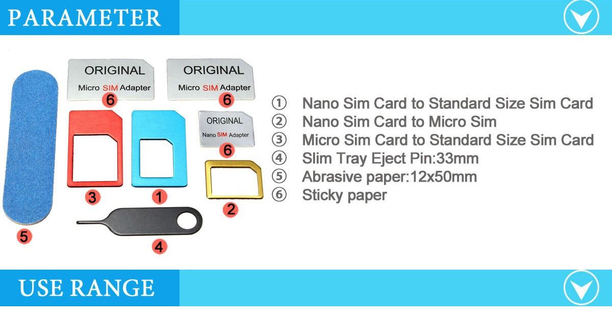 Universal Nano Sim Card To Micro Sim Card To Standard Sim