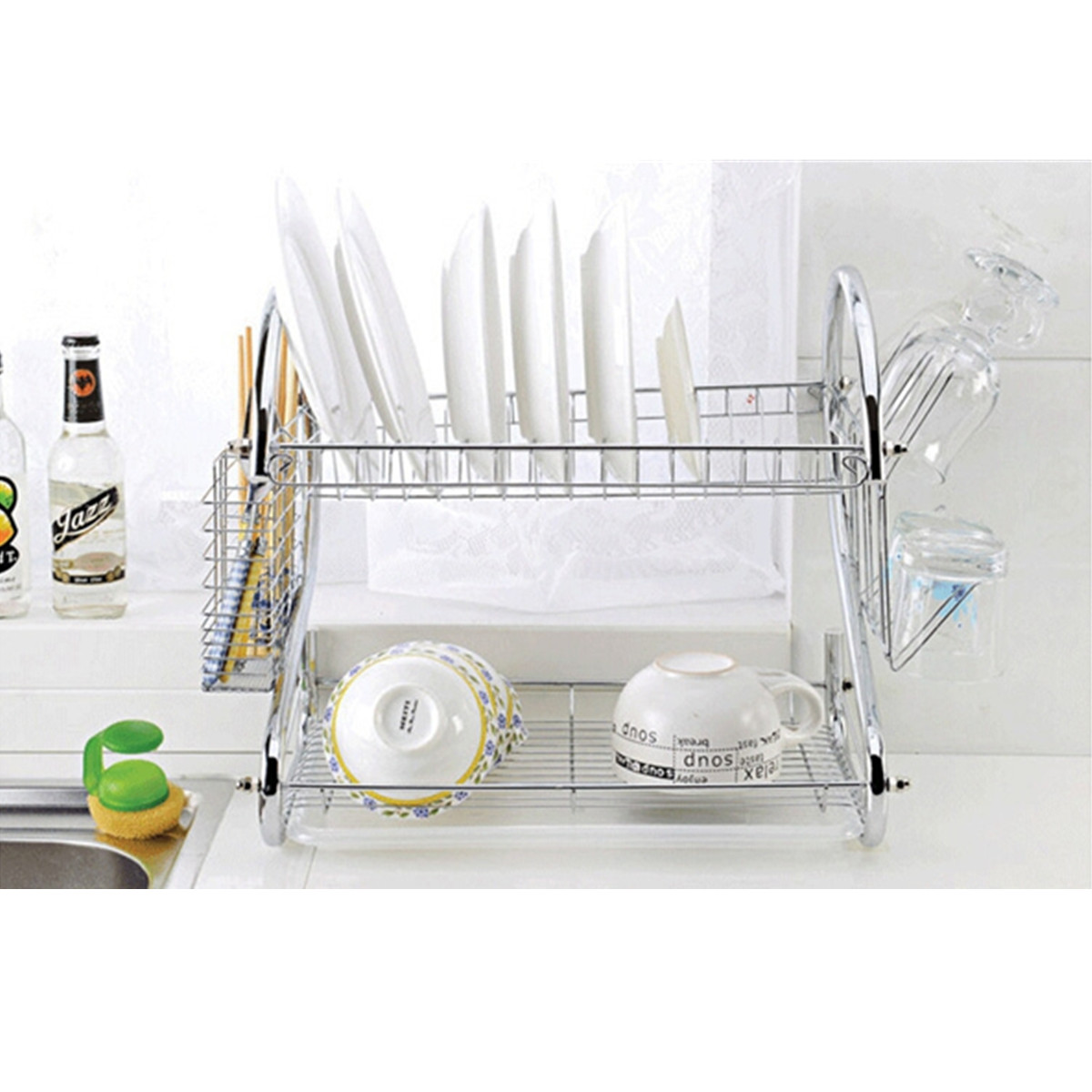 Stainless steel dish rack 2 tier space saver dish Small stainless steel dish drying rack