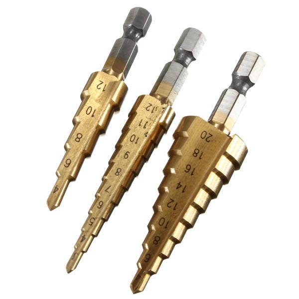 3Pcs 1/4 Pulgadas Hex Shank HSS Conjunto de Piezas de Broca de Escala Cubierta del Titanio 3-12/4-12/4-20mm