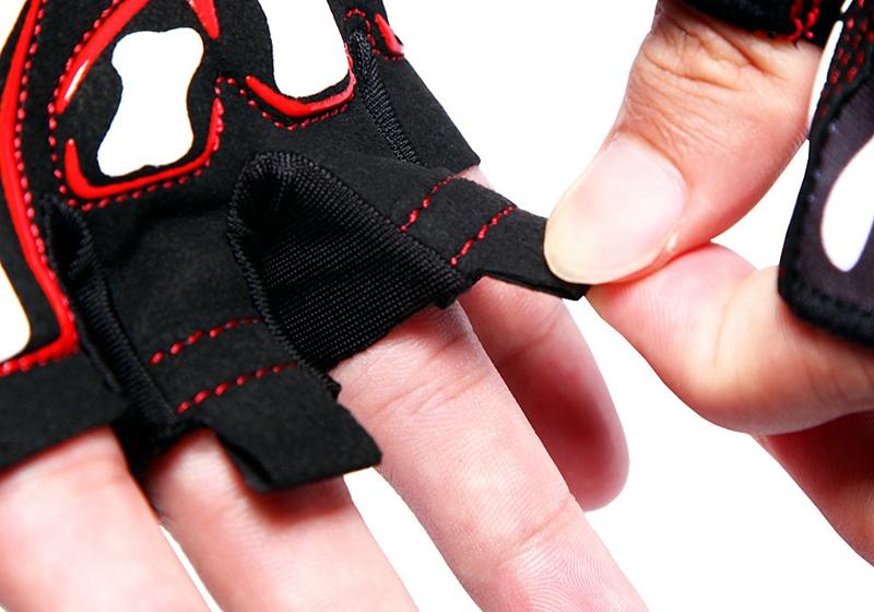 WOSAWE Fietsryhandschoenen Schokbestendige Silica Gel Korte Vingerhandschoenen Schedelpatroon