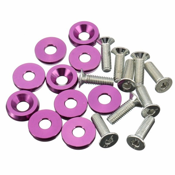 10PC Purple M6x20MM Aluminum Fender Bumper Washers with Bolts Dress Up for Honda