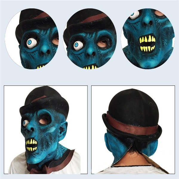 Pumpkin Head One-eyed Blue Face Skull Latex Mask for Halloween Party