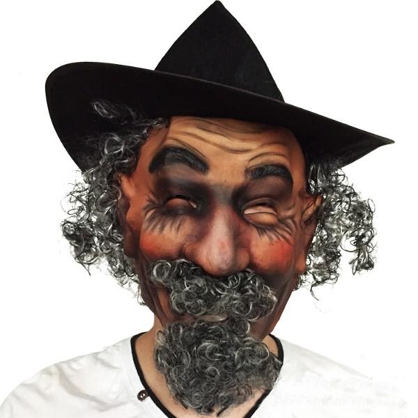 İmitasyon Bıyıklı Kıvırcık Saç Peruk Lateks Maske Cadılar Bayramı Partisi Cosplay için