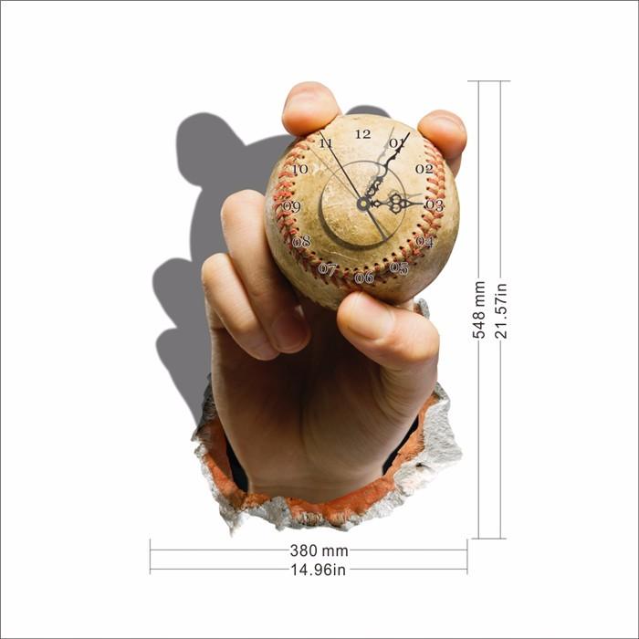Sticker pag 3d orologio da parete adesivo baseball mano for Orologio stickers