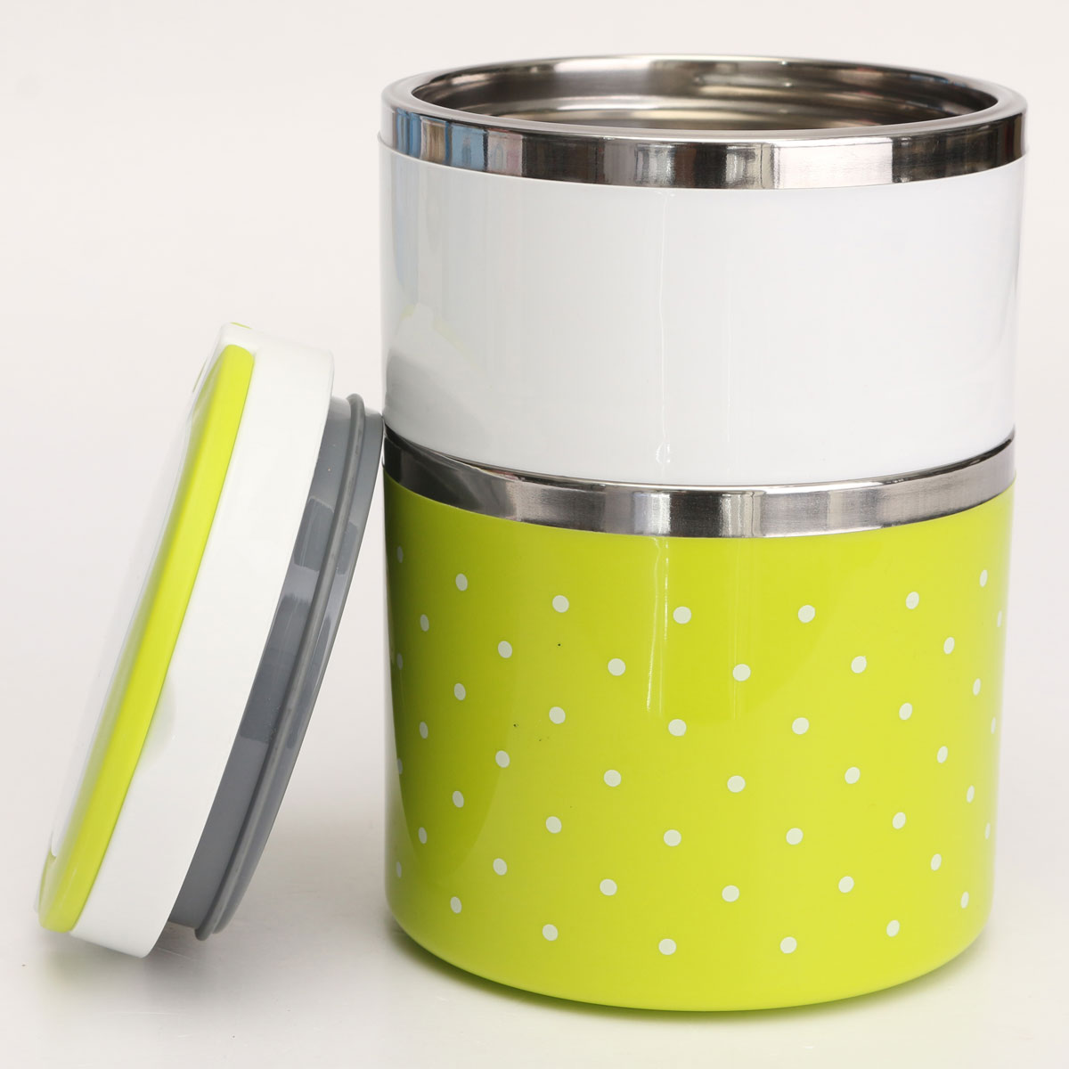 2 layer cute stainless steel lunch box insulation bento food picnic container green export. Black Bedroom Furniture Sets. Home Design Ideas