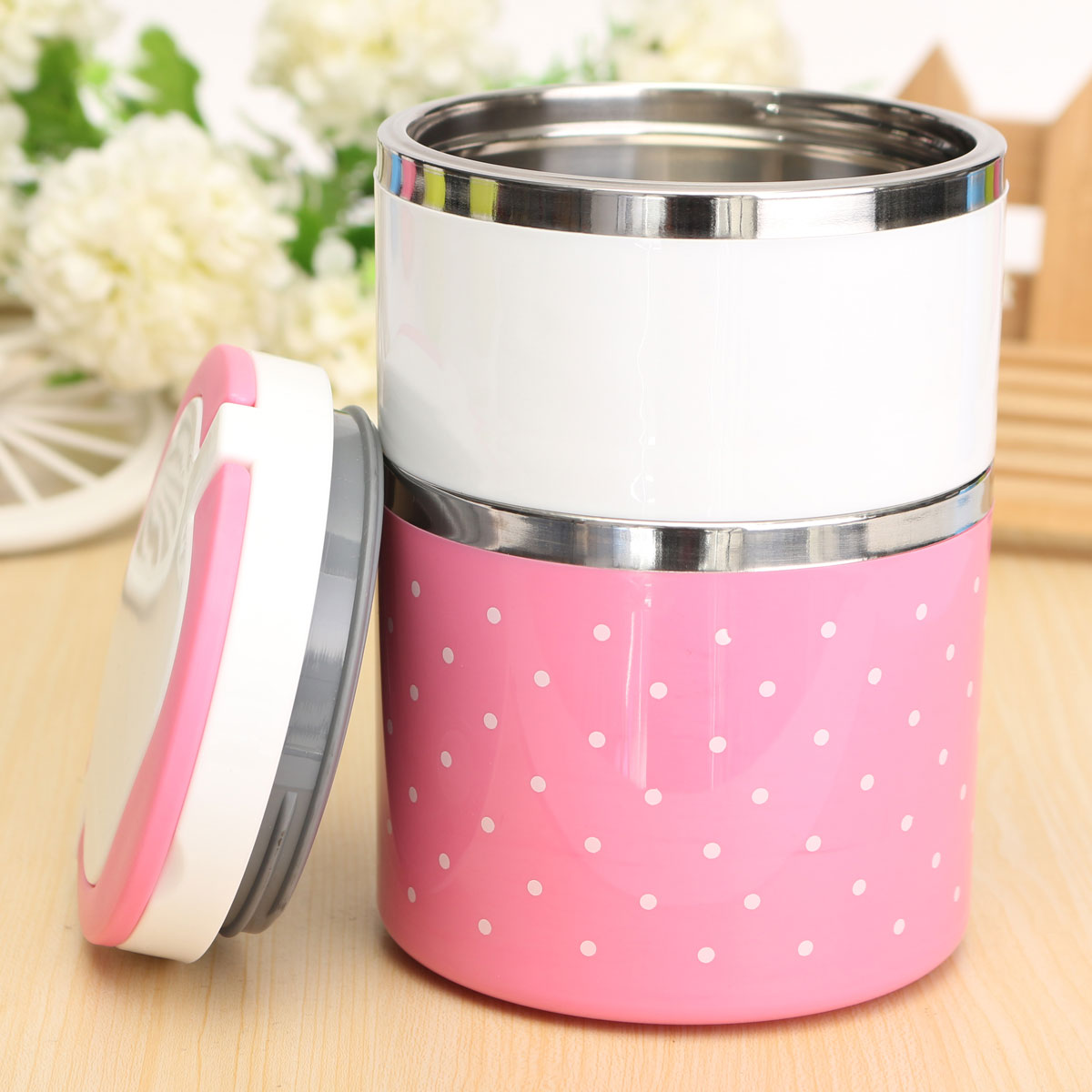 2 layer cute stainless steel lunch box insulation bento food picnic container pink export. Black Bedroom Furniture Sets. Home Design Ideas