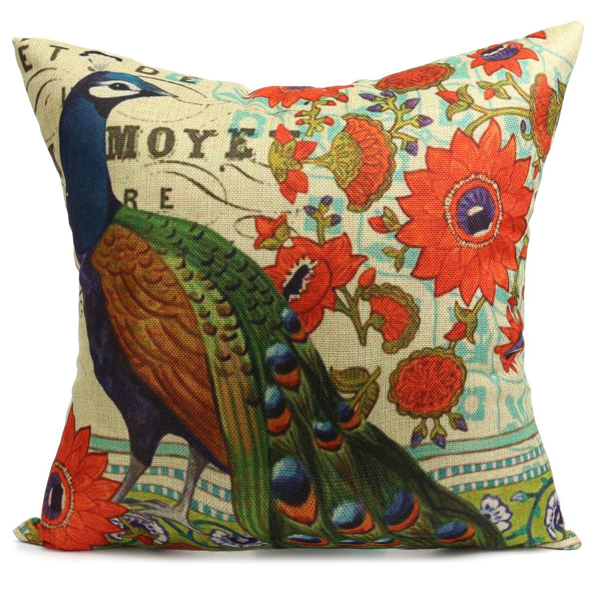 cotton linen car home decor peacock style pillowcase cushion