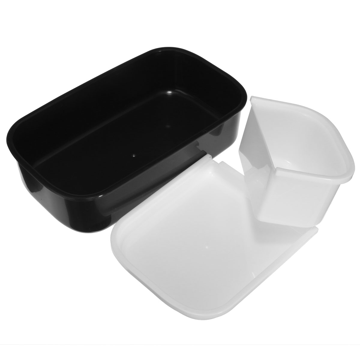microwave plastic bento lunch box container large storage spoon fork black. Black Bedroom Furniture Sets. Home Design Ideas