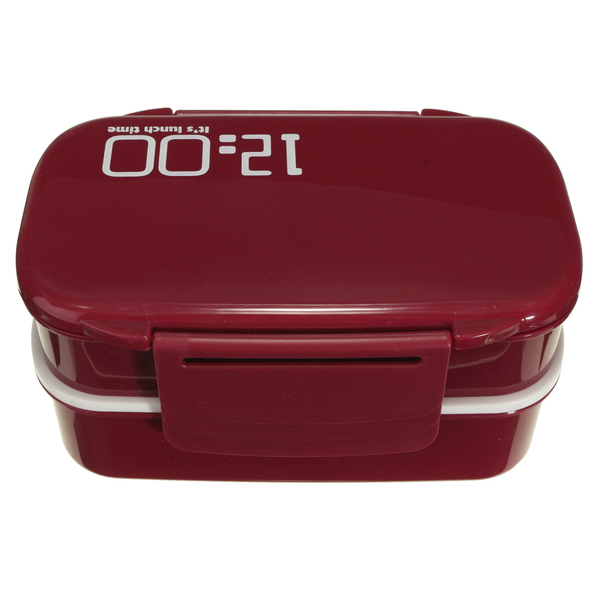 microwave plastic bento lunch box container large storage spoon fork wine red. Black Bedroom Furniture Sets. Home Design Ideas
