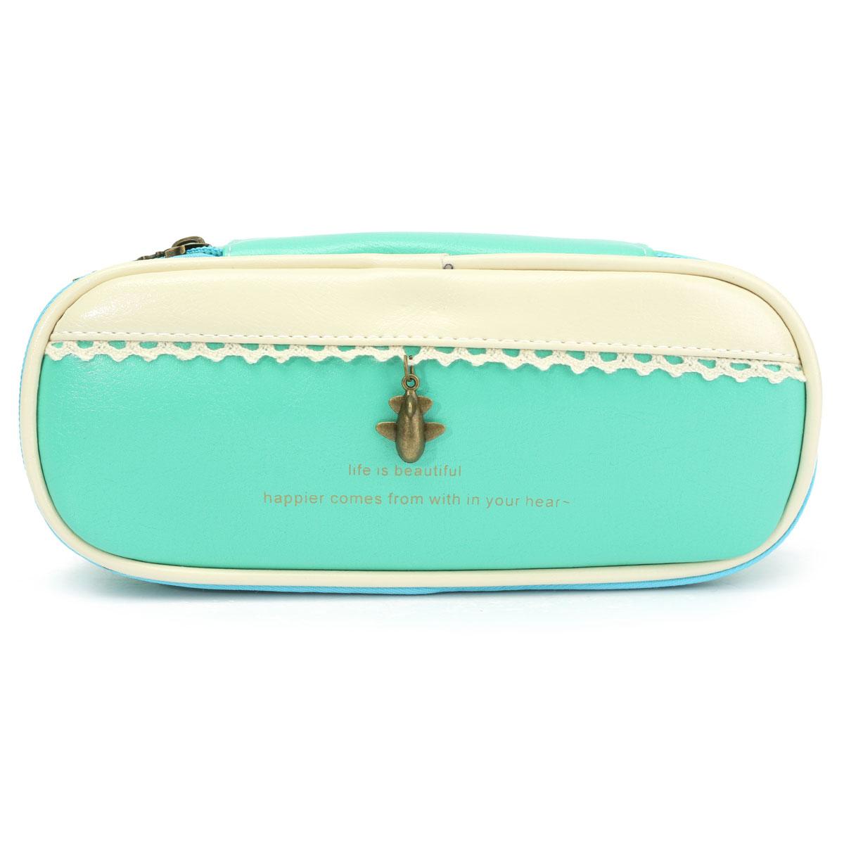 Pu Leather Cute Pen Bag Pencil Case Travel Cosmetic Makeup