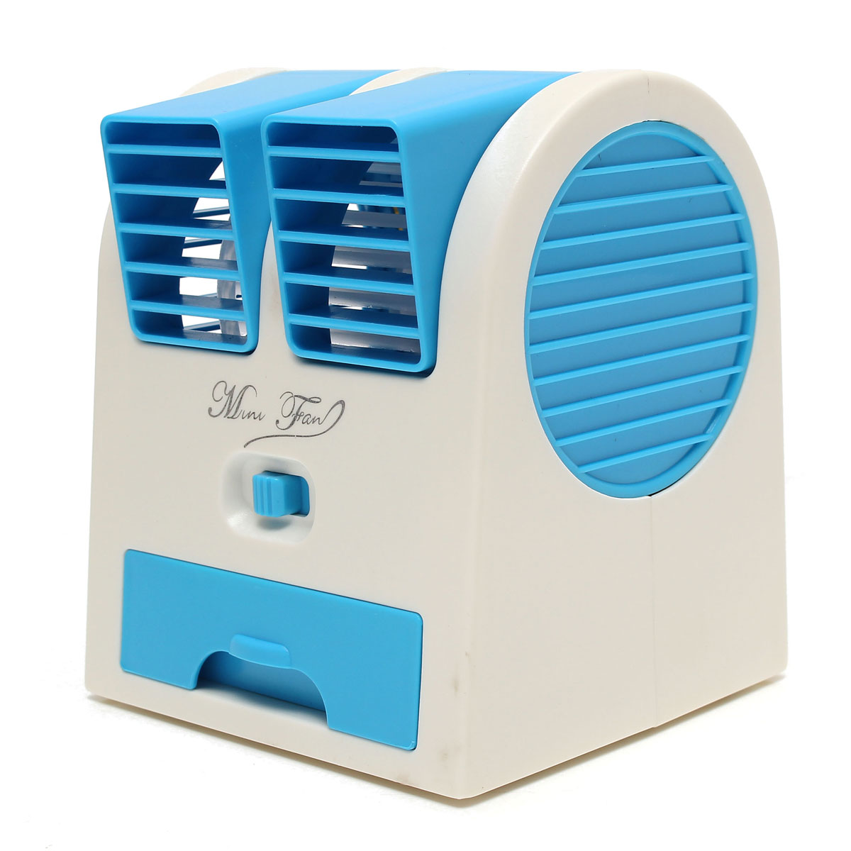 USB Small Fan Cooling Portable Desktop Dual Bladeless Air Conditioner  #04254C