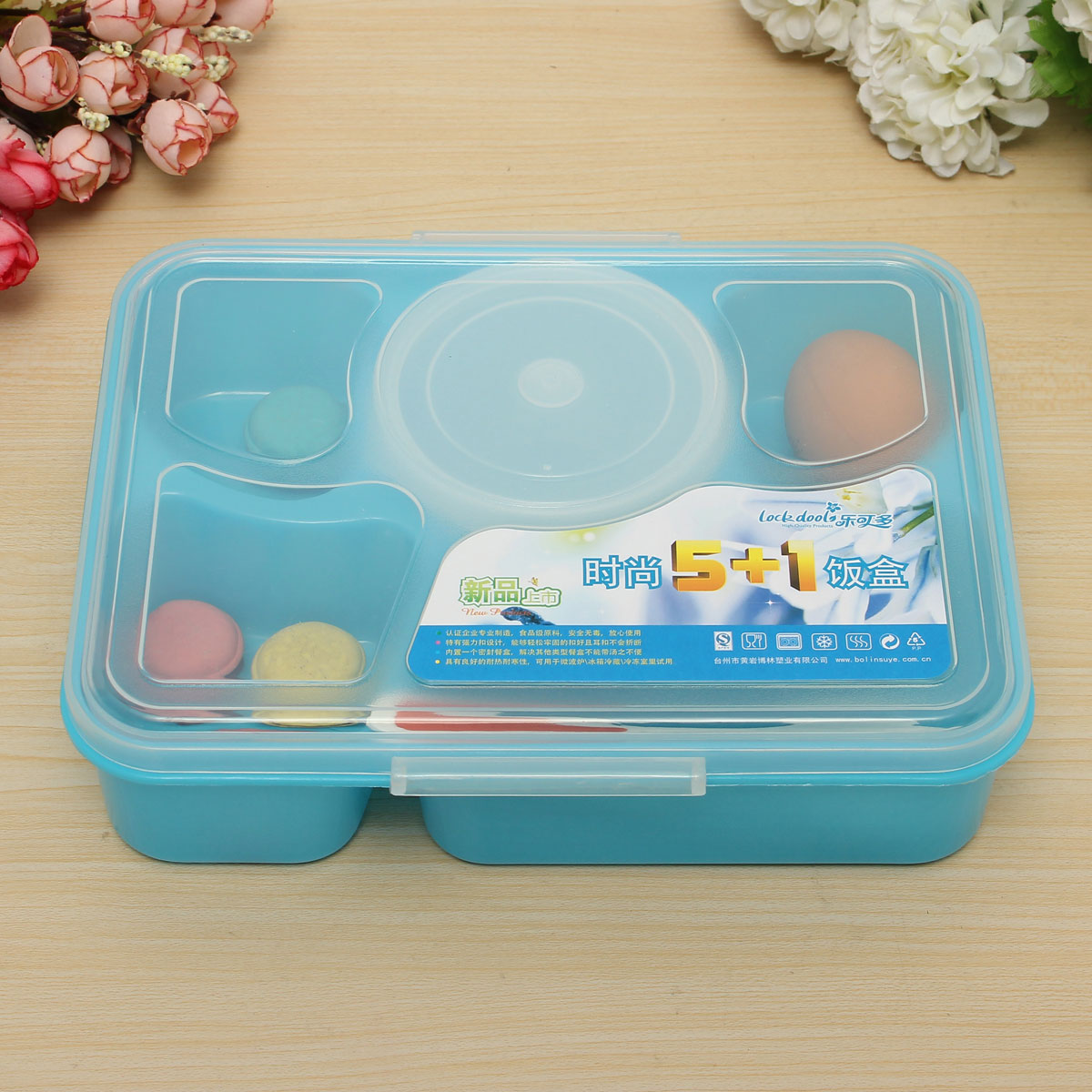 5 separated microwave bento lunch box soup spoon picnic. Black Bedroom Furniture Sets. Home Design Ideas