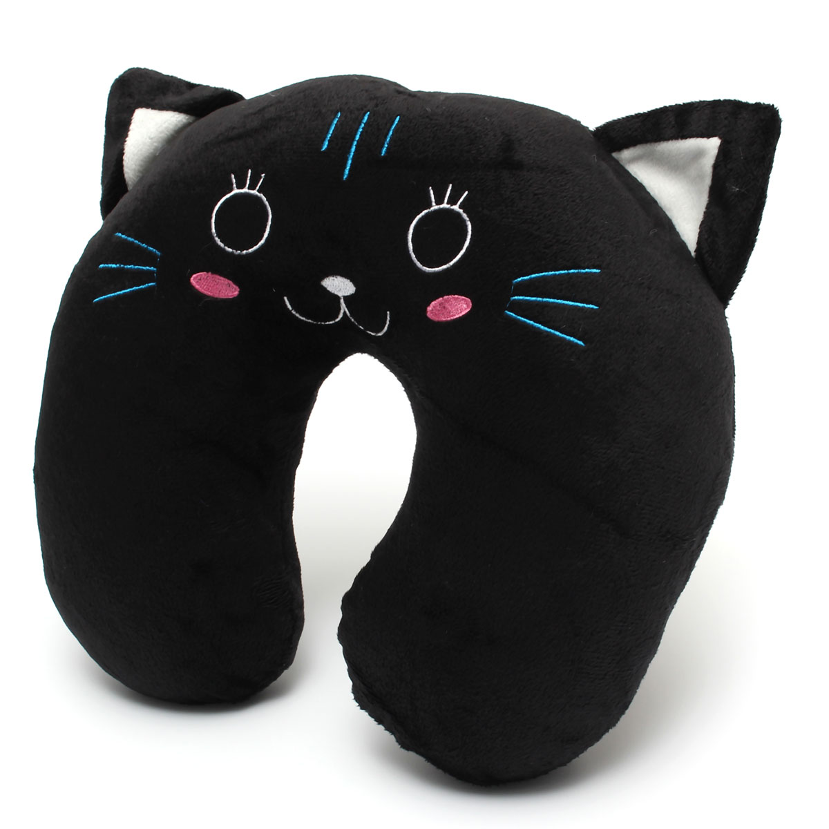Cute Neck Pillows For Travel : HKS Cute Animal Neck U-Shape Pillow Headrest Car Flight Travel Soft Nursing Cushion Black Cat ...