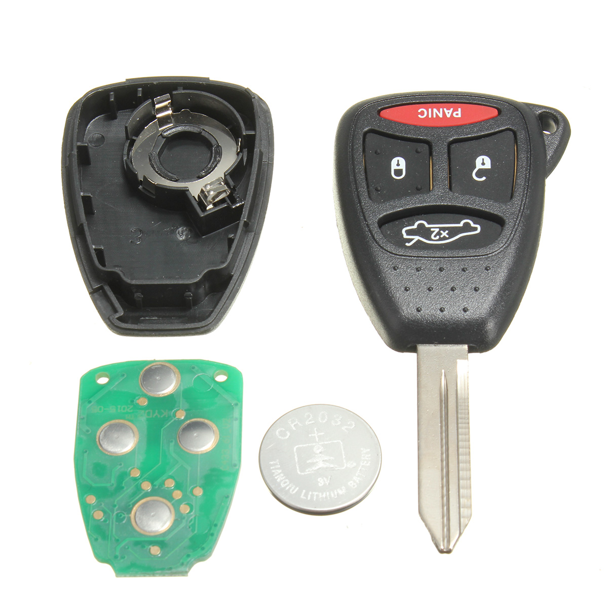 Replacement 4 Button Uncut Keyless Entry Remote Key