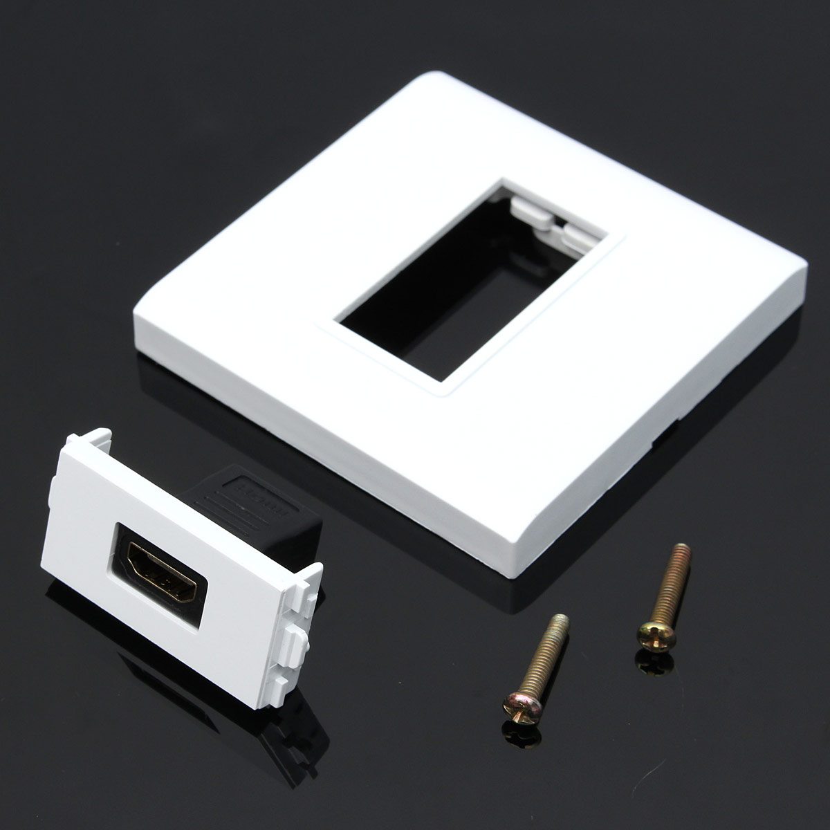 white hdmi female 1 port wall plate socket panel coupler. Black Bedroom Furniture Sets. Home Design Ideas