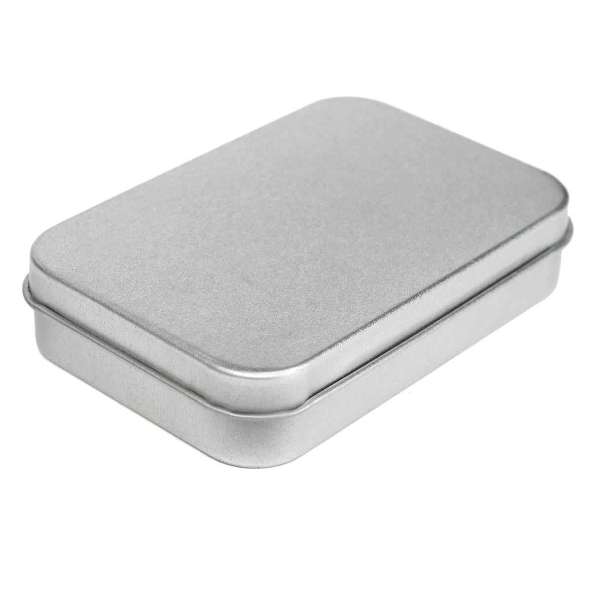 Small Metal Tin Silver Flip Storage Box Case Organizer For