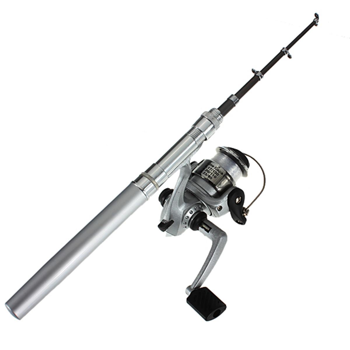 Mega fishing rod mini portable telescopic silver for Mini fishing pole