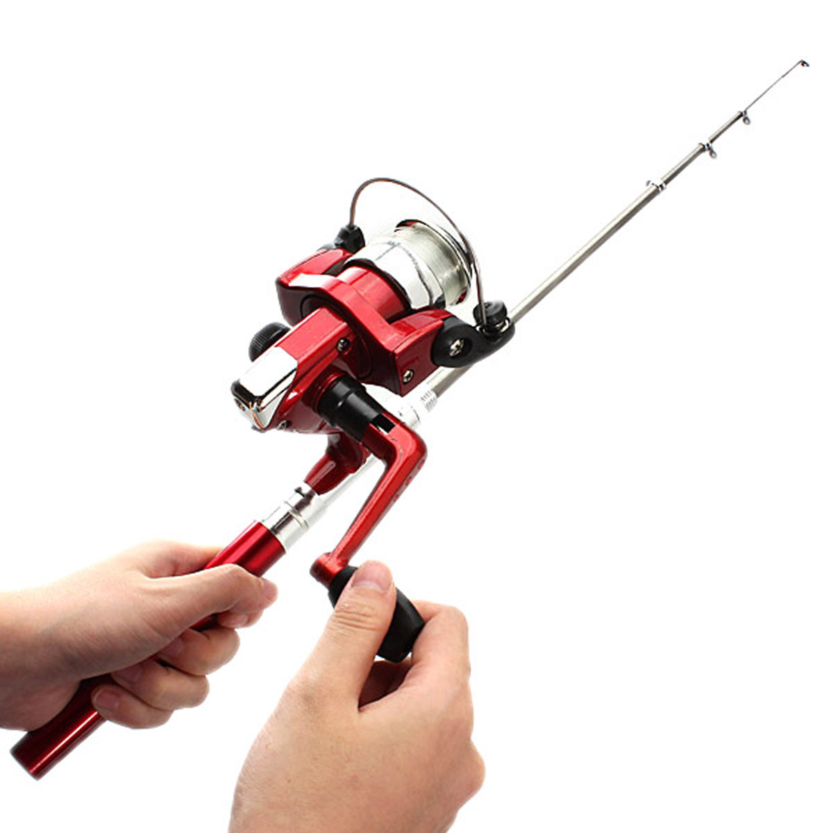 Fishing rod mini portable telescopic red for Red fishing rod