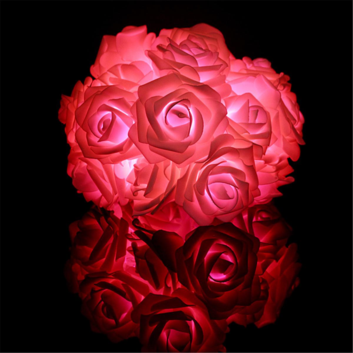 20led flower rose fairy string night light lamp for for Light up flower lamp