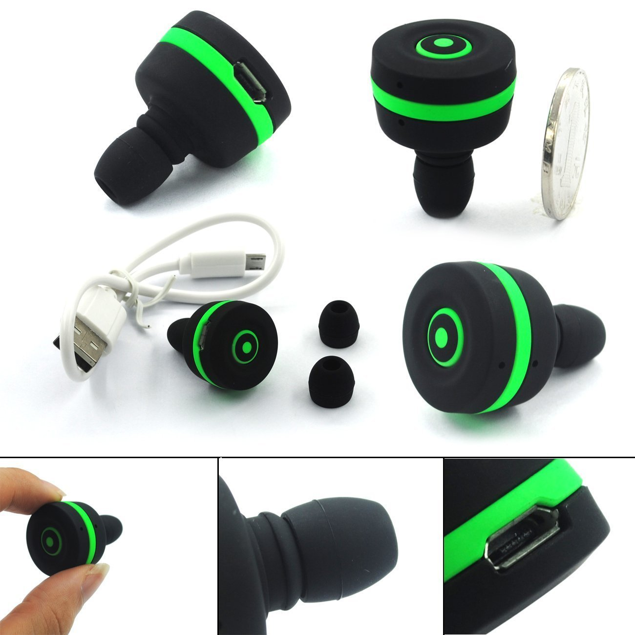 mini bluetooth wireless in ear mono headphones headset earphone w mic smallest green new. Black Bedroom Furniture Sets. Home Design Ideas