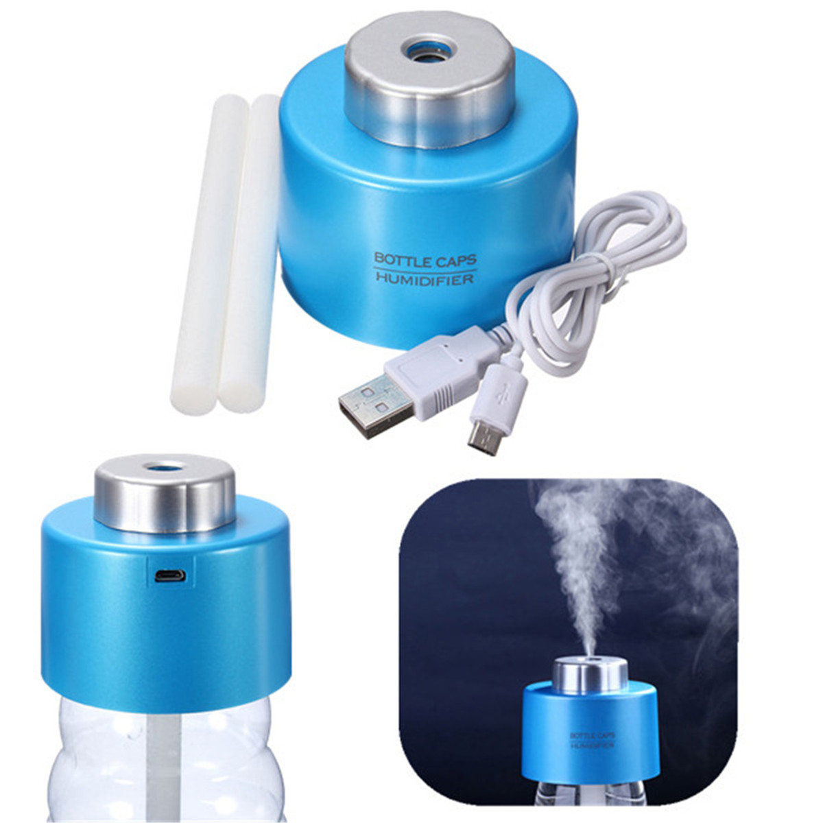 Portable Mini Water Bottle Caps USB Humidifier Aroma Air Diffuser Mist  #1385B8