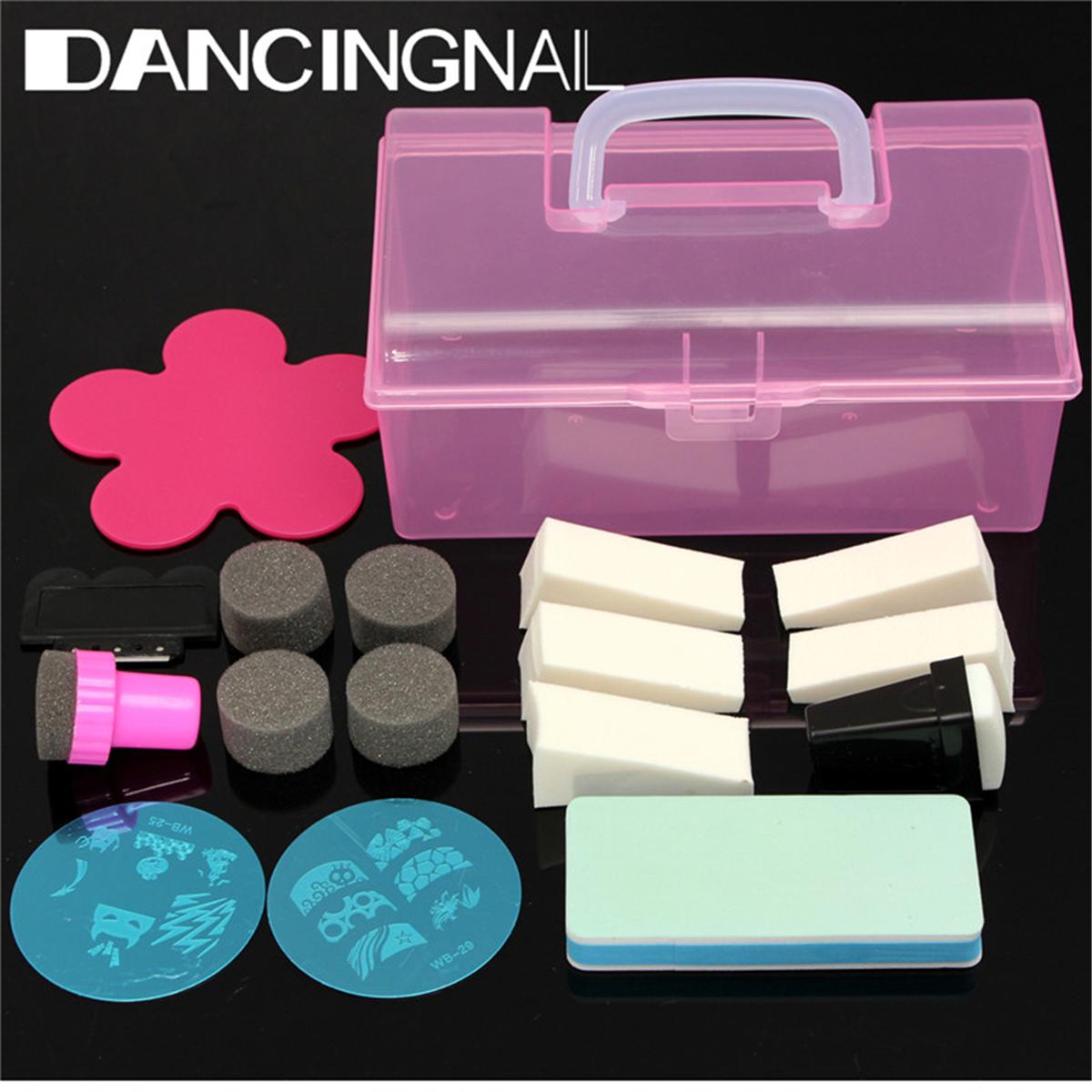 DANCINGNAIL 1 set Nail Art Sponge Stamp Polish DIY Deco Design Kit