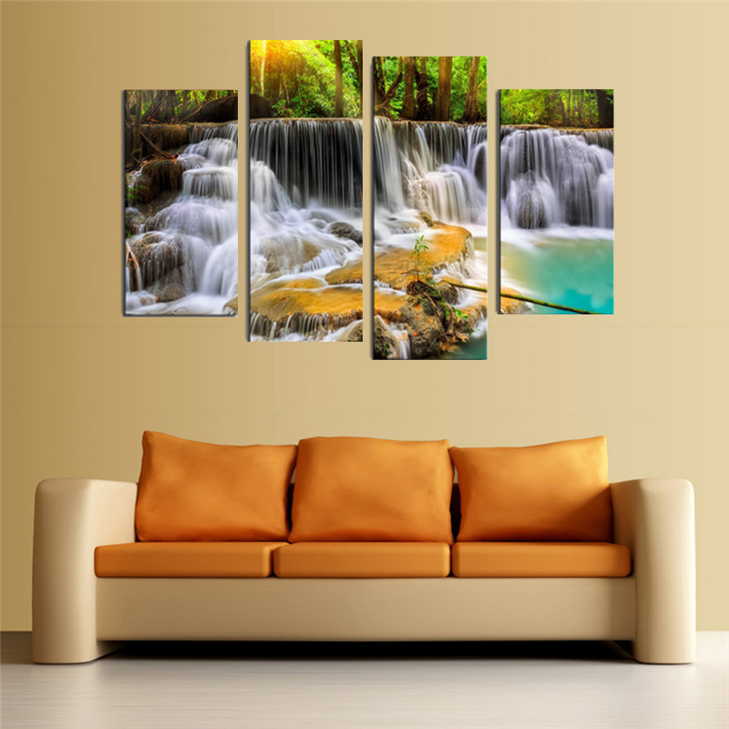 30x80cm 4 Panel The Waterfall With Tree Large Hd Picture