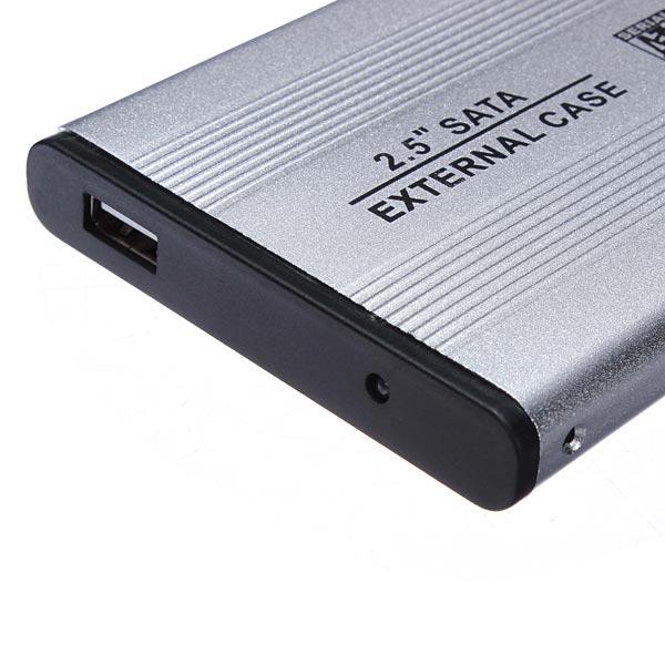 USB 20 SATA 25 External Hard Drive Case Silver