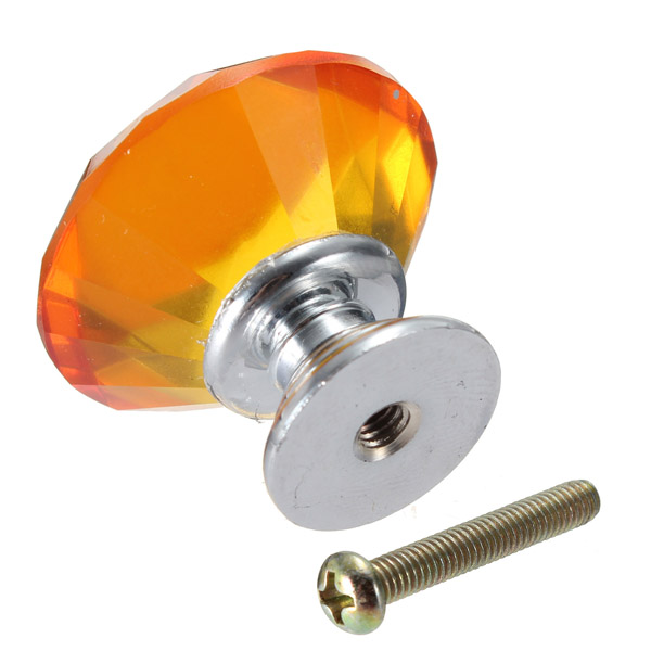 Glass Cupboard Cabinet Door Drawer Pull Kitchen KnobsHandle Amber