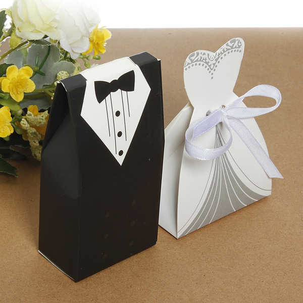 Wedding Gift Box Singapore : ... /Lot Party Favor Gift Tuxedo Dress Groom Bridal Wedding CandyBoxes