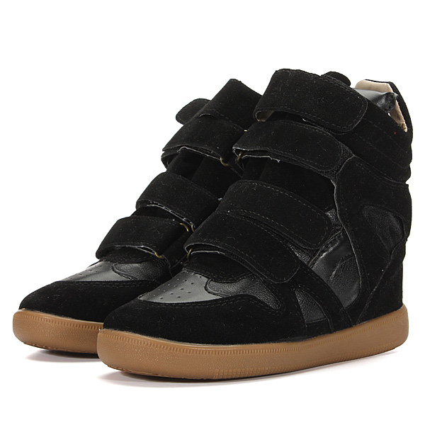 Black-Women-Velcro-Strap-Hidden-Heel-Top-Sneaker-Ankle-Wedge-Shoes-Boot-AU9-CN40
