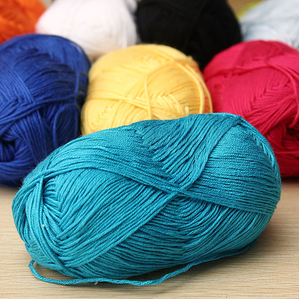 Bamboo Yarn : Natural Bamboo Cotton Knitting Soft Yarn Fingering Sapphire Blue ...