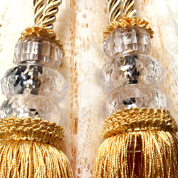 Large Tassels Home Decor: 2 Crystal Tassel Beaded Tiebacks Windows Curtain Fringe