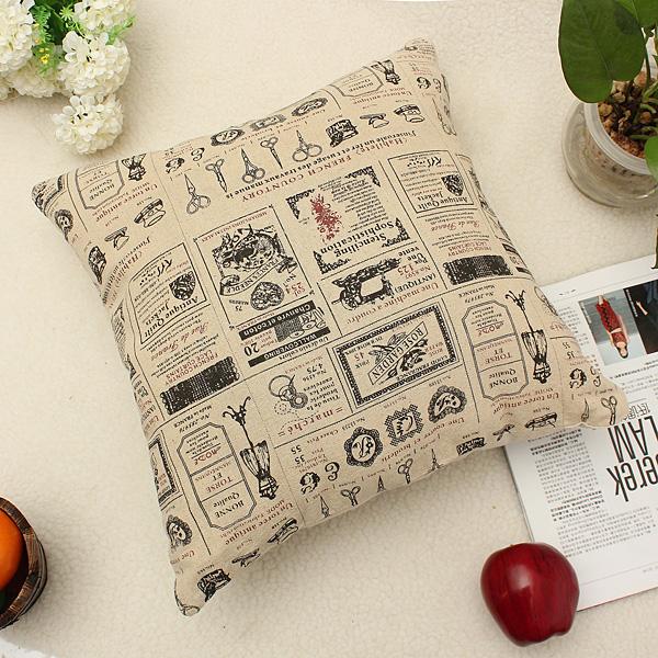 Home Decor Vintage Cotton Linen Back Waist Cushion Cover