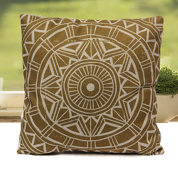 Round Throw Pillow Covers : Home Decor Vintage Round Flower Gear Linen Waist Throw Pillow Case Cushion Cover eBay