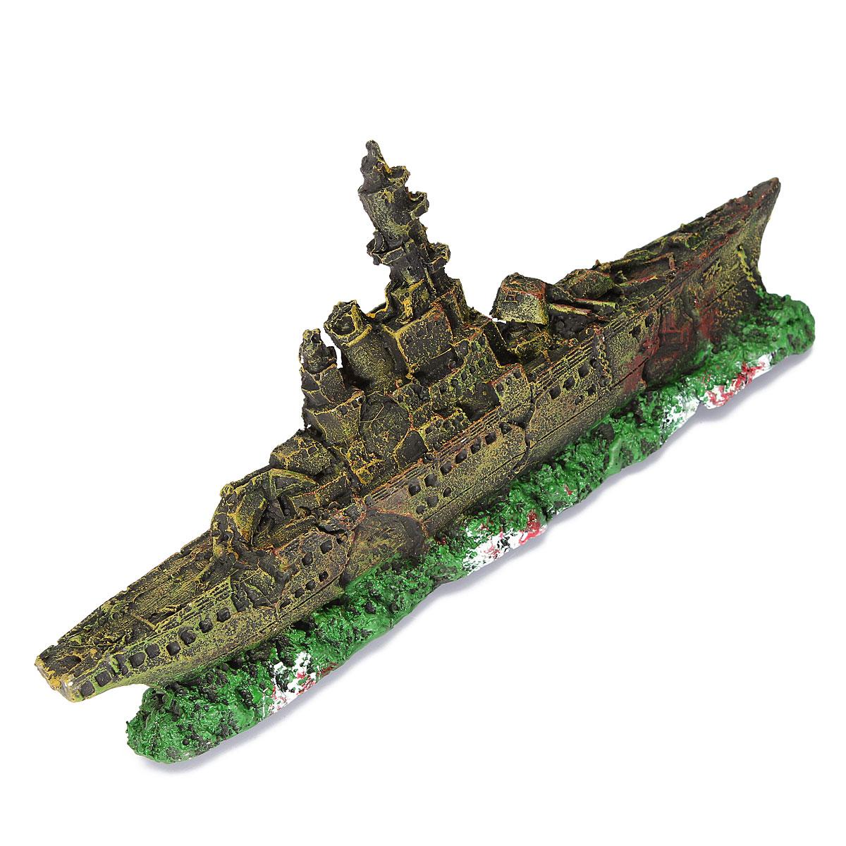 Autoleader aquarium ornament navy war boat ship wreck for Aquarium decoration ship
