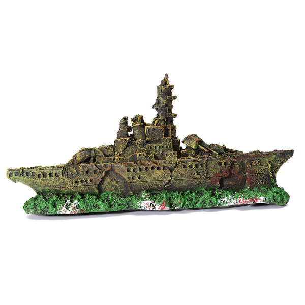 Aquarium ornament navy war boat ship wreck underwater fish for Aquarium decoration ship