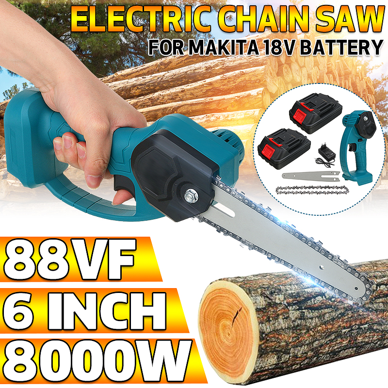 Chain Saw 88V 1200W Electric Cordless Mini One-Hand 6inch Garden Woodworking Pruning Chainsaw + 2 Battery