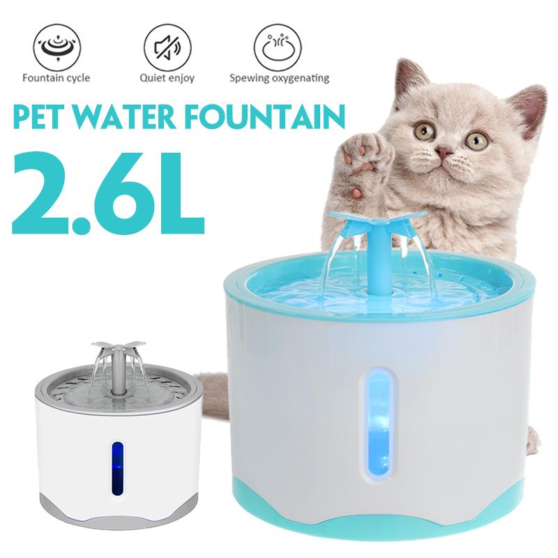Đài Phun Nước Chạy Điện Cho Thú Cưng 2600Ml W/Đèn Ngủ LED Bình Nước Tự Động Bát Ăn Uống Cho Chó Mèo (4 Bộ Lọc Thay Thế)