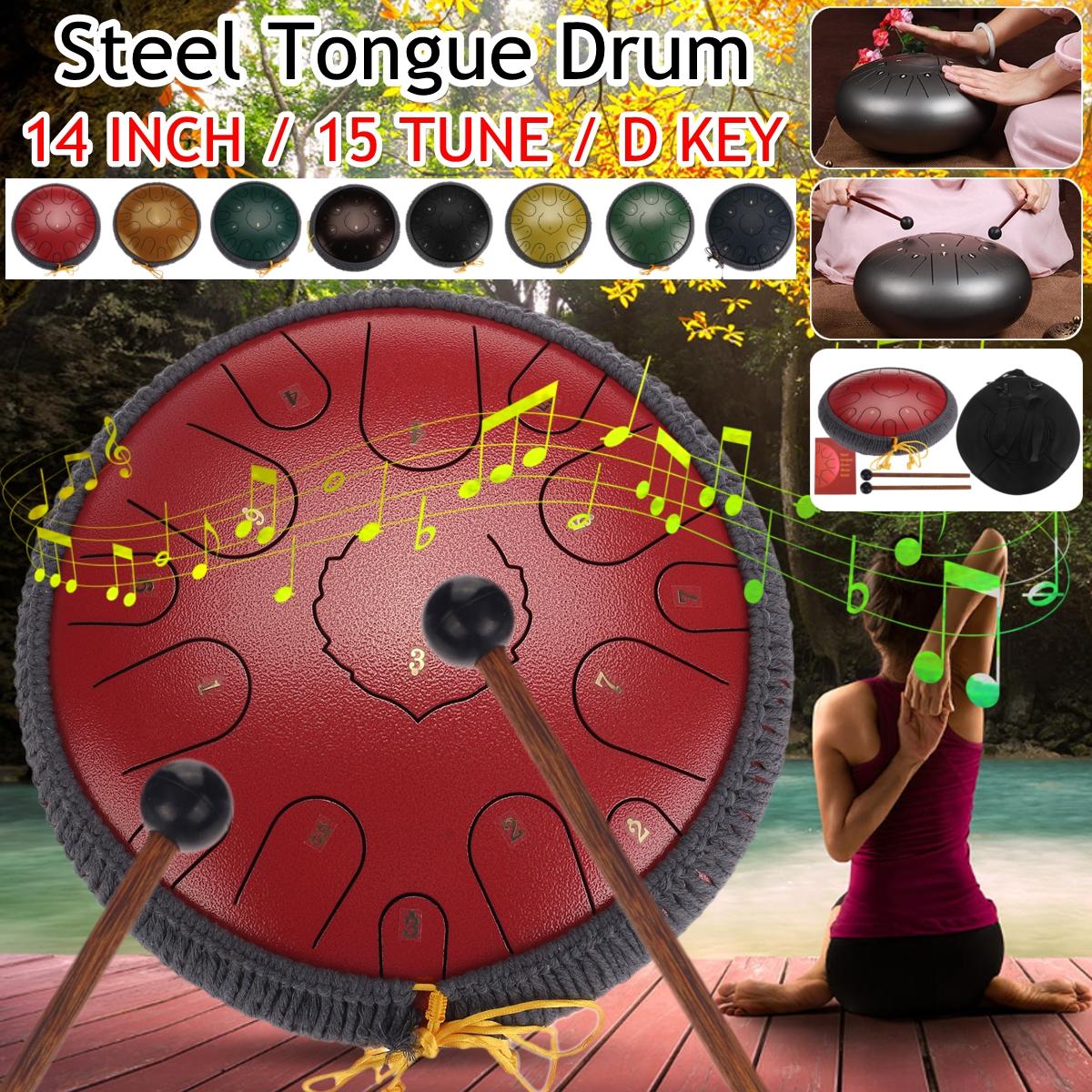 NEW Steel Tongue Drum 13 inch 15 tone Drum Handheld Tank Drum Percussion Instrument Yoga Meditation Beginner Music Lovers Gift Malaysia