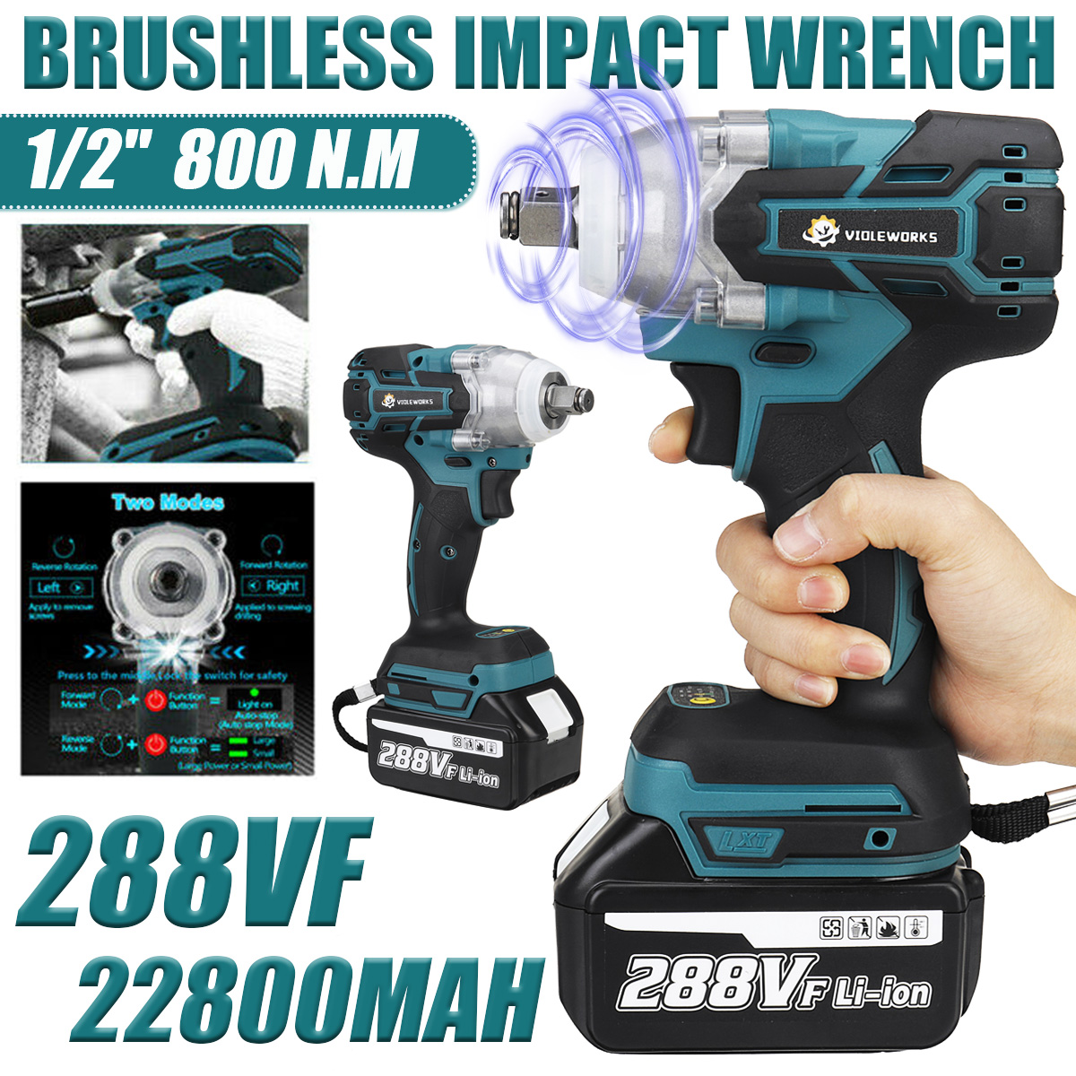 288V 800N.M 22800mAh Electric Wrench 1/2 inch Square Driver Cordless Brushless Impact Wrench Driver Spanner with 1/2 Battery