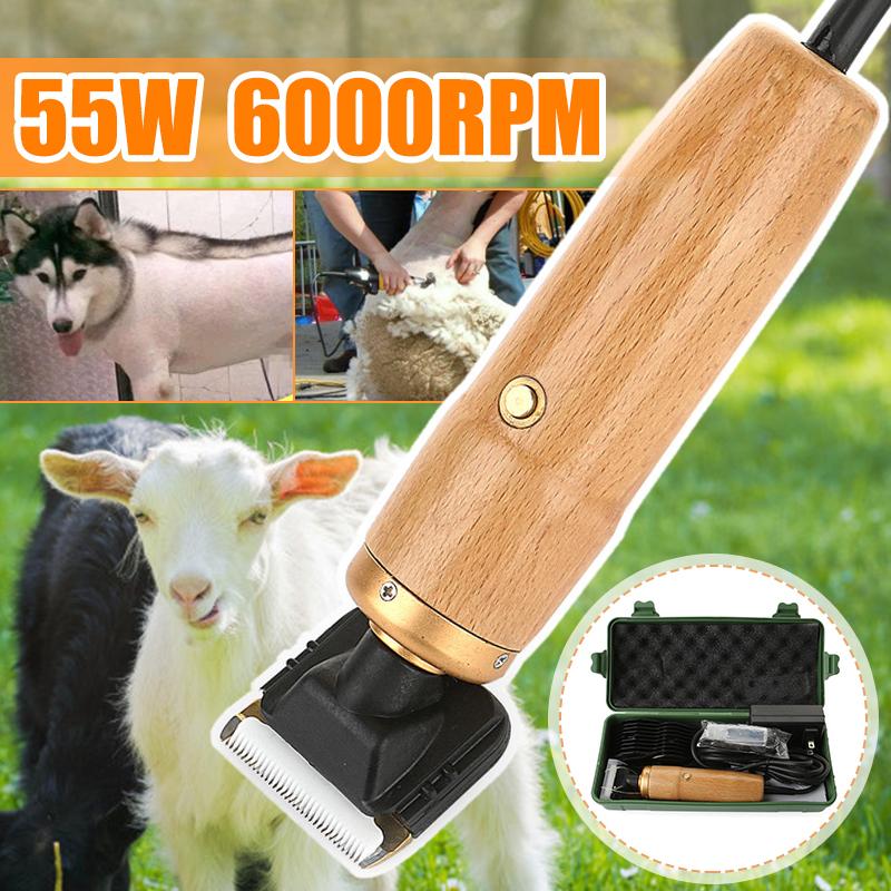 Tông Đơ Cắt Điện 55W, Máy Tỉa Lông Cừu Dê Động Vật Trang Trại Thú Cưng 6000 Vòng/phút + Bộ Chuyển Đổi Nguồn + Bàn Chải Làm Sạch + AC110-240V Hộp Lưu Trữ