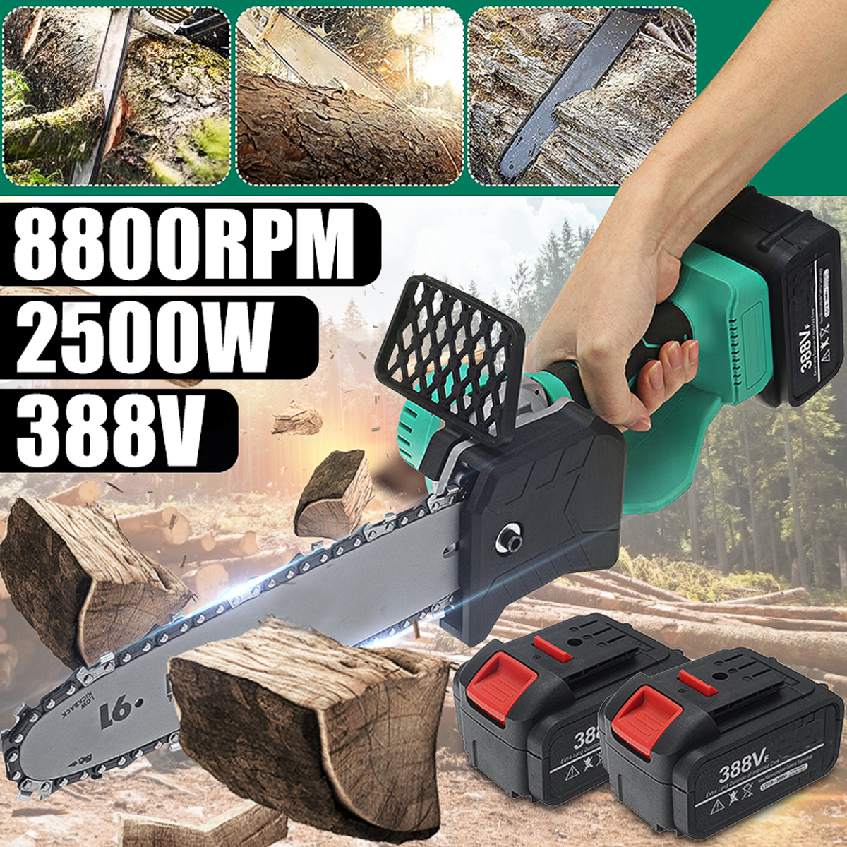 388VF 10 inch 2500W Electric Chainsaw Cordless Chain Saw Woodworking Tree Branch Cutter Garden Power Tool