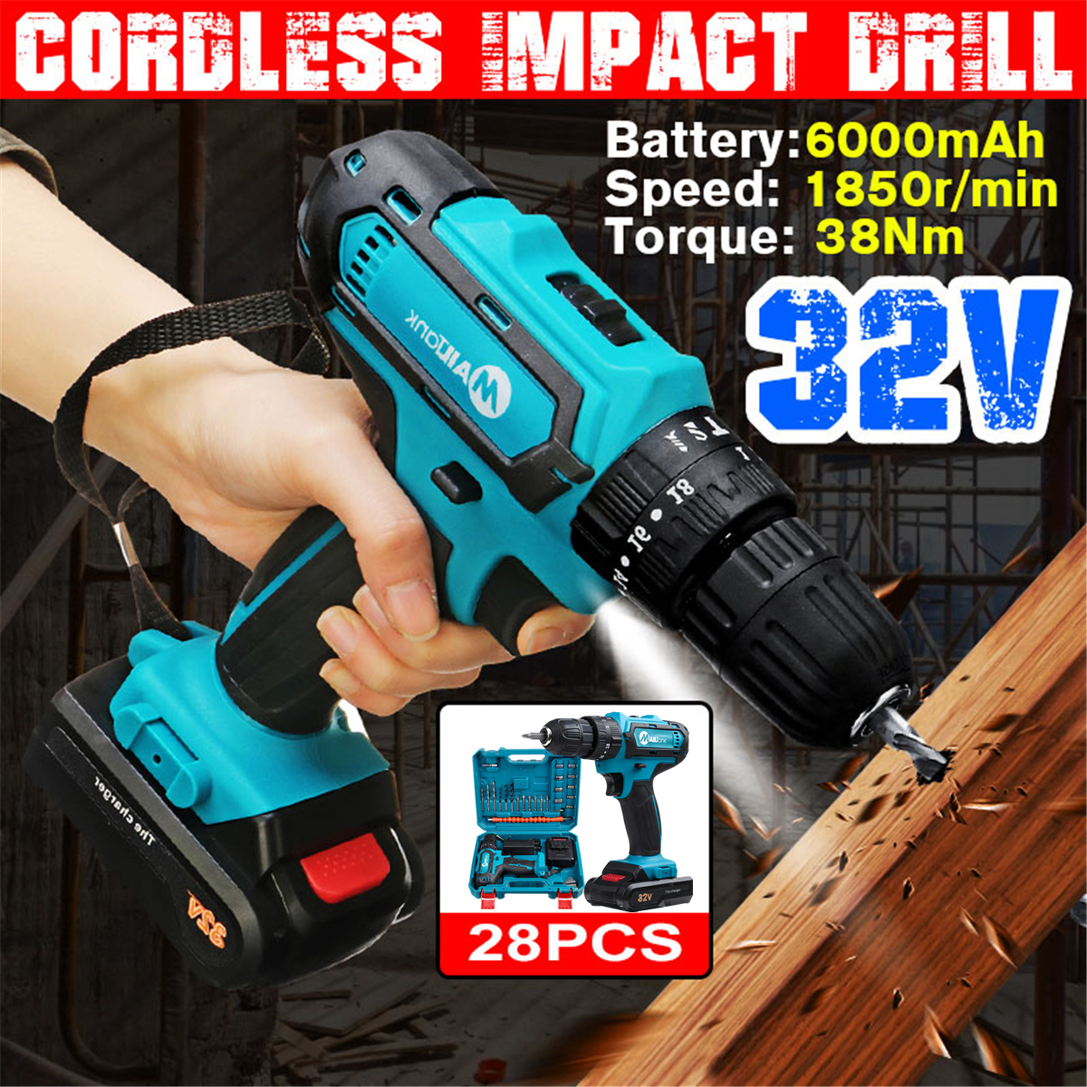 32V 2-Speed 6000mah Hanmmer Impact Drill  Electric Cordless Drill 3IN1 Screwdriver with 1/2 Li-Ion Battery
