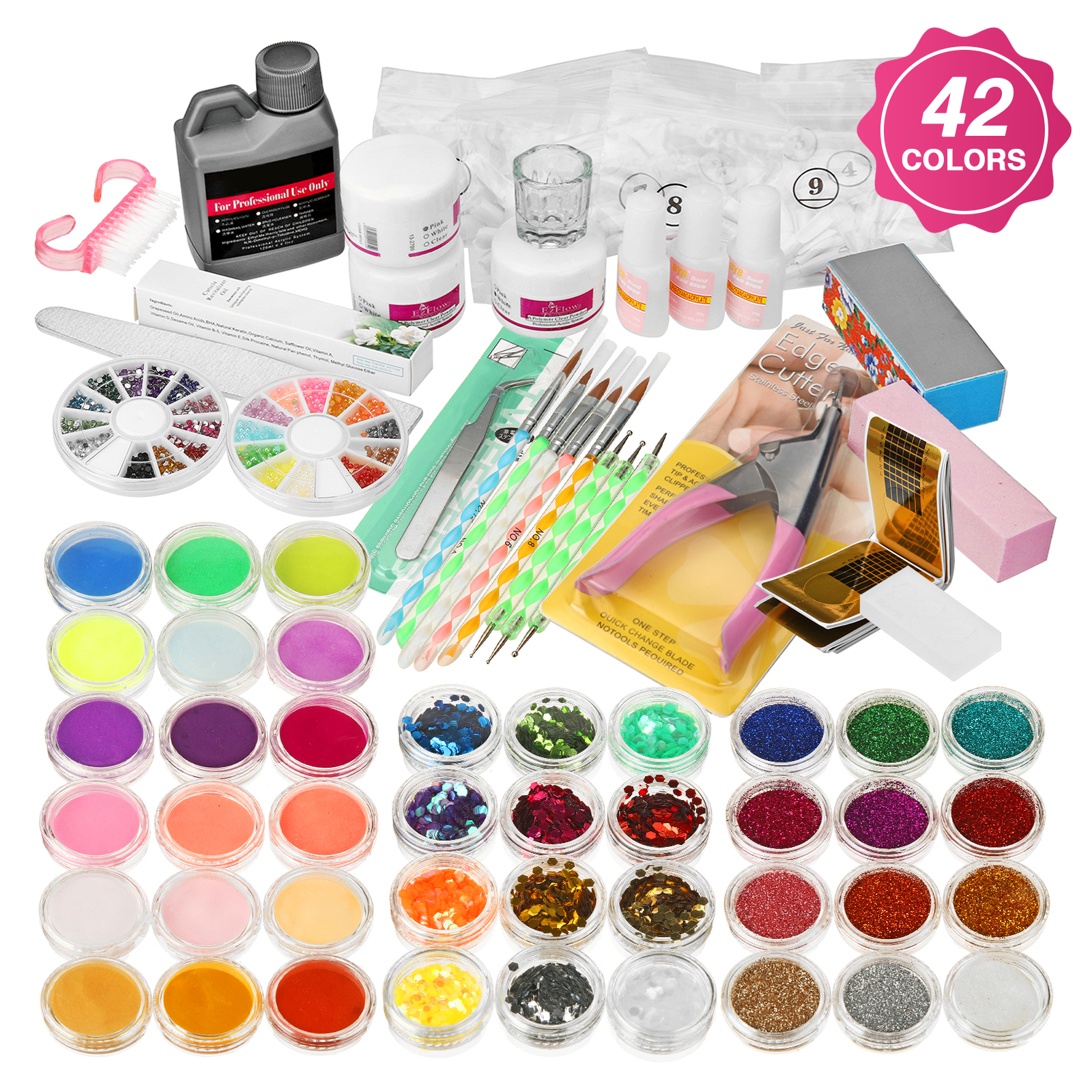Janolia 42 Colors Professional Acrylic Powder Nail Art Set w/ Manicure Kit